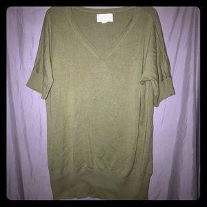 Avenue Sage Green Short Sleeve V-Neck Sweater
